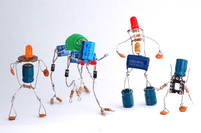 Arte com componentes eletrônicos