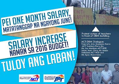 PEI for teachers 1 month salary