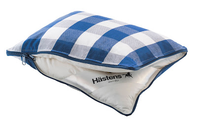 Hastens travel pillow in Yonder blue check