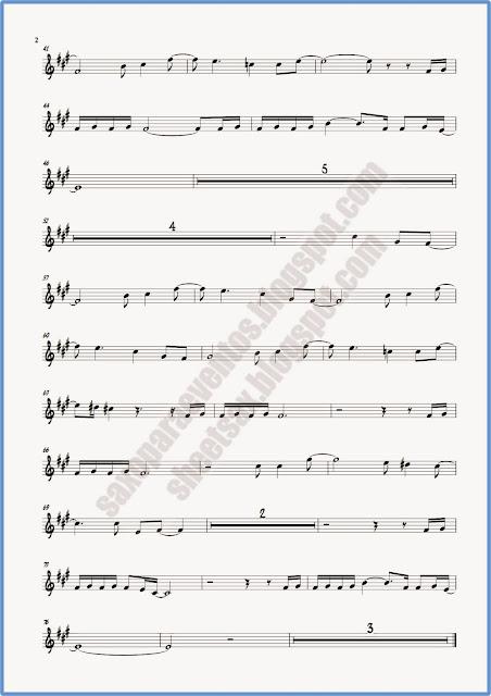 Partitura de Crimen para flauta y violín hoja 2