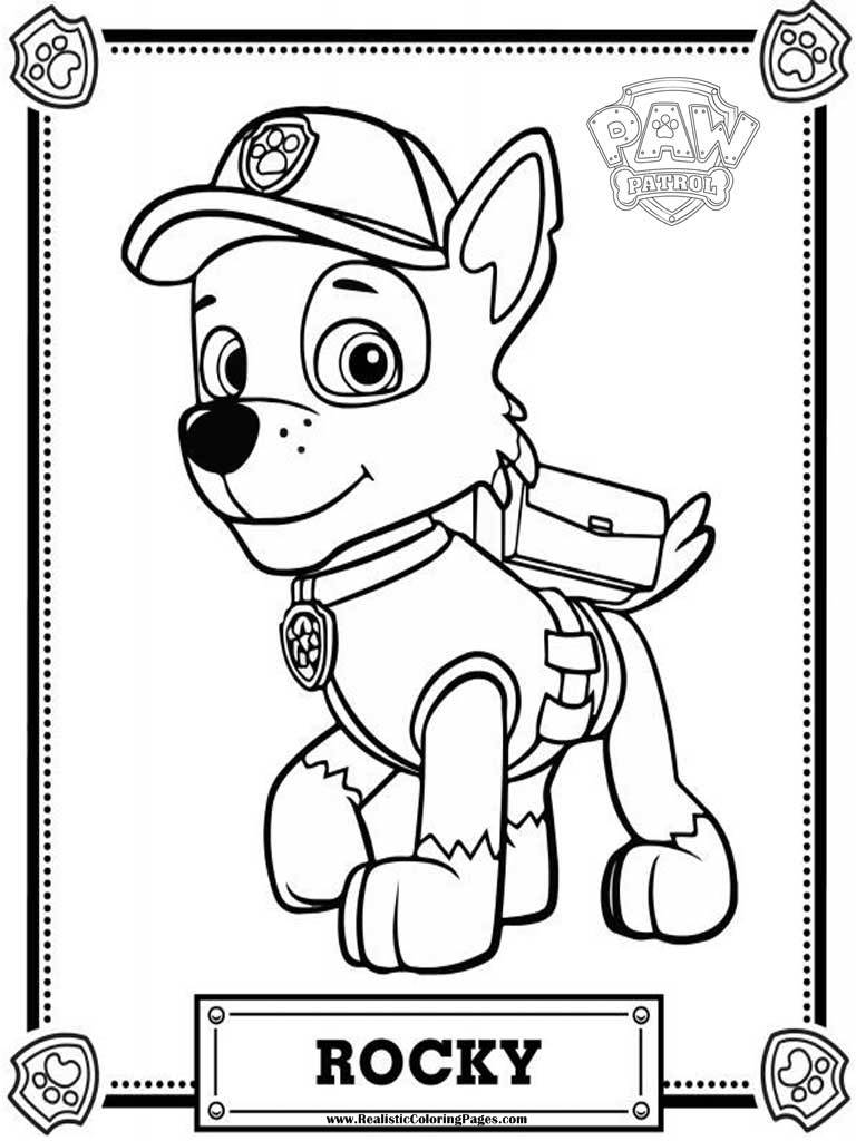 Coloring Pages Paw Patrol Rocky : Rocky paw patrol coloring pages sketch page