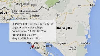sismo 4,9 grados en Nicaragua, 21 de Diciembre 2013