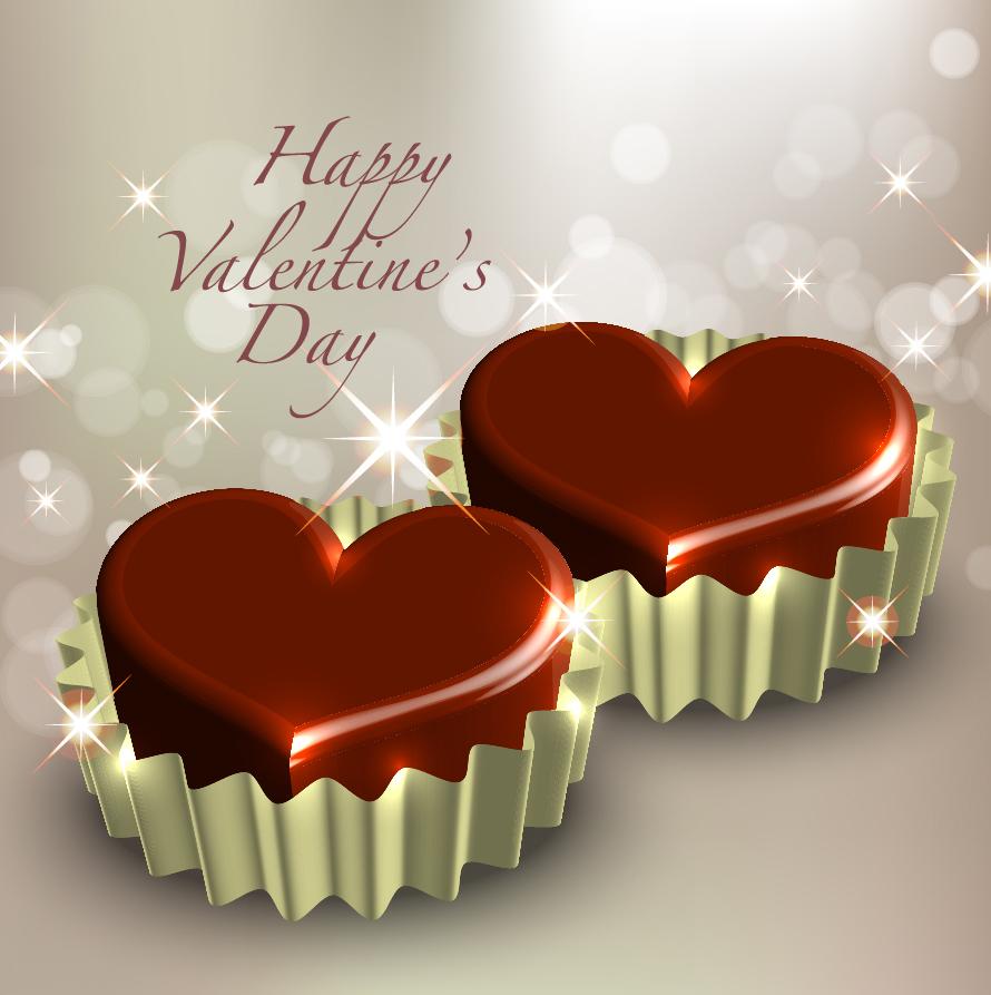 立体的なバレンタイン チョコレート three-dimensional heart-shaped chocolate イラスト素材3
