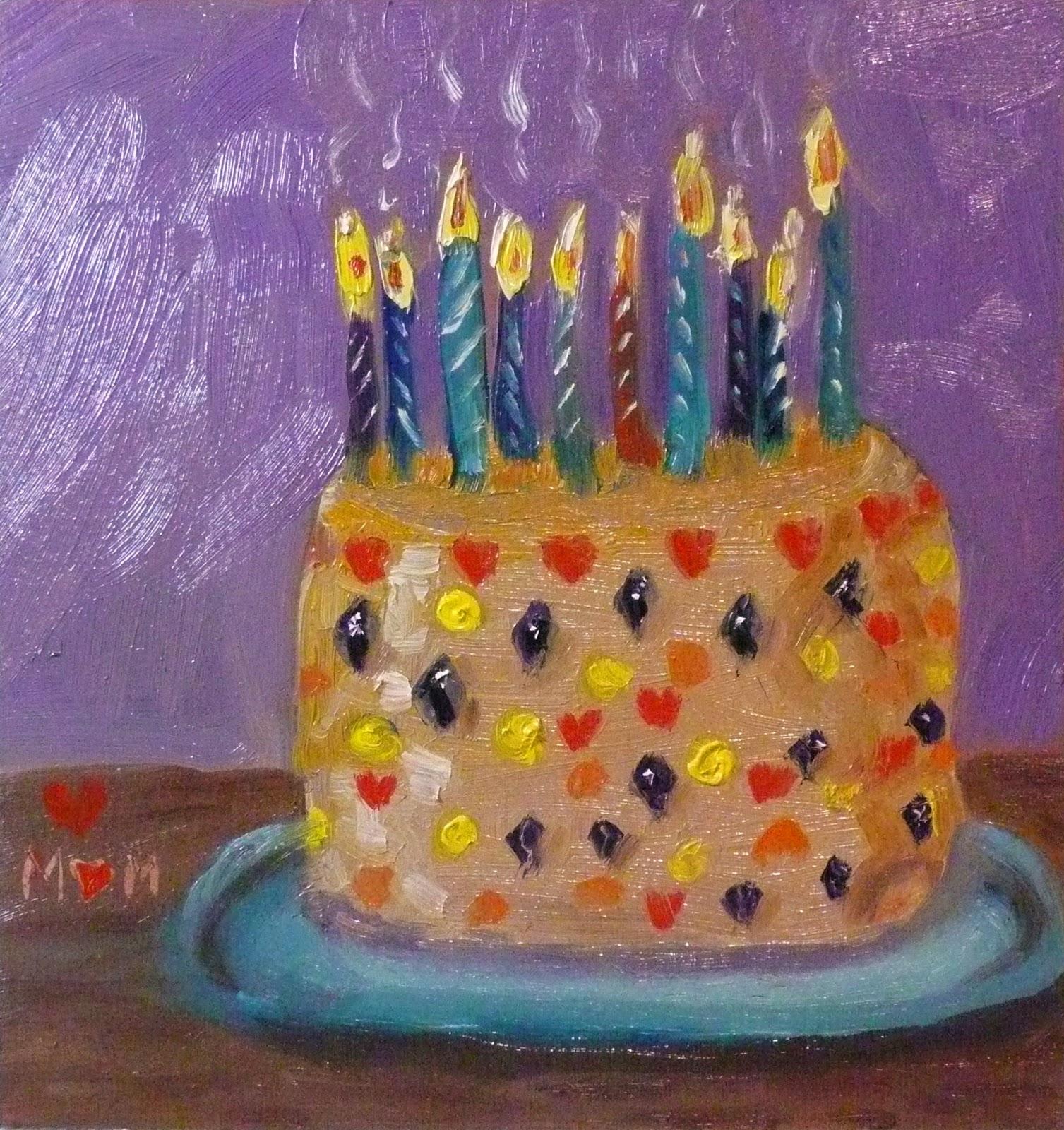 Karen Olivers Painting Blog Happy Birthday Cake
