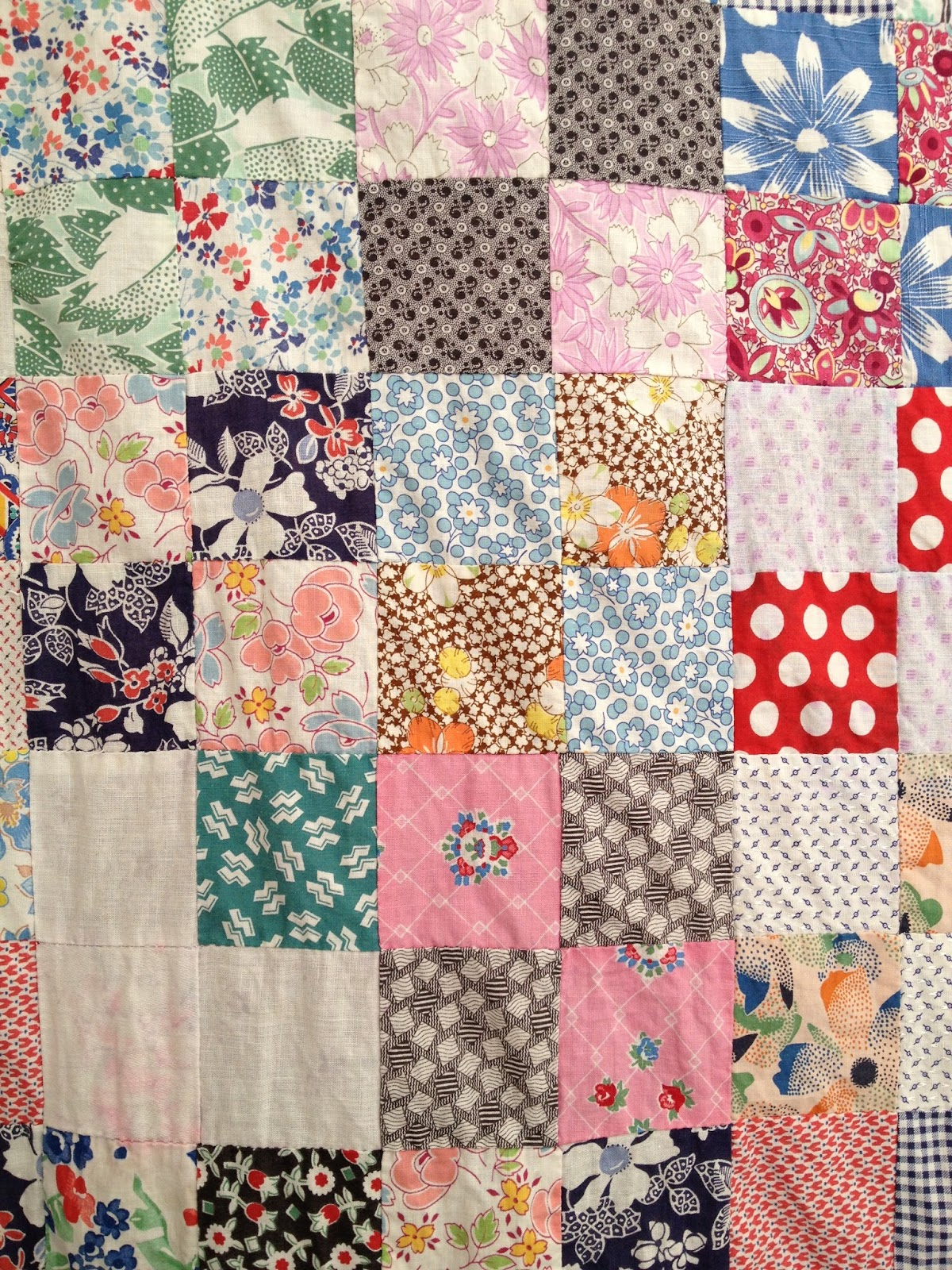 Mill Girl: Vintage feed sack quilt top : antique patchwork quilts - Adamdwight.com