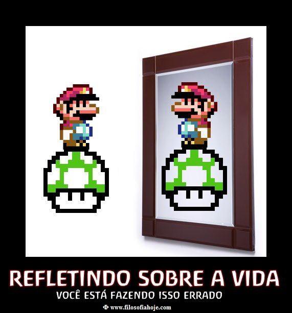 super, mario, bros, 1, up, vida, espelho, mirror, refletindo, imagem