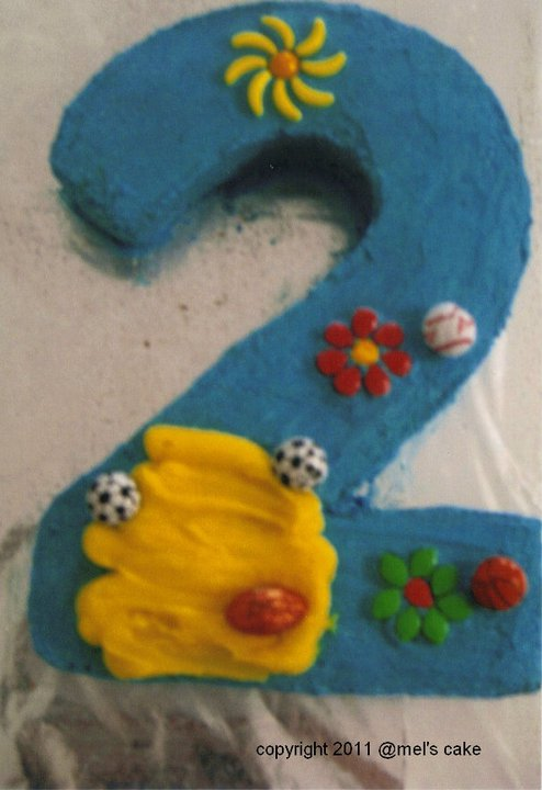 Number 2 Shaped Cakes http://mels-cakes.blogspot.com/2012/03/birthday-cakes.html