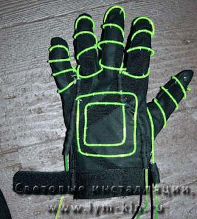 перчатки и гибкий неон
