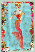 Sexy mermaid coral fin on fabric block mermaid quilt panel haute couture by vintagemermaidsfabricblocks.com