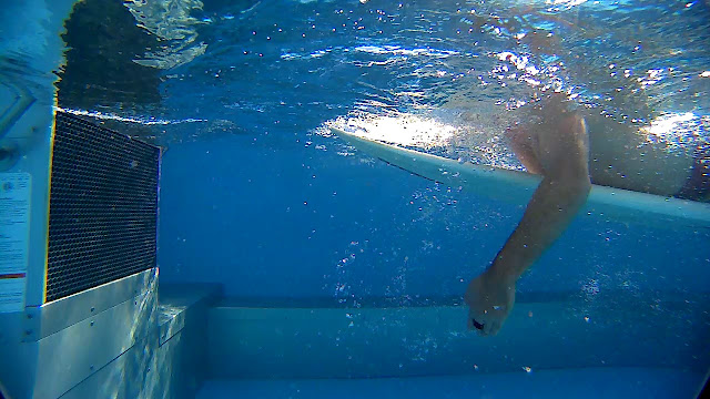 The underwater video feed in the Endless Pool at Swimming Paddling Academy