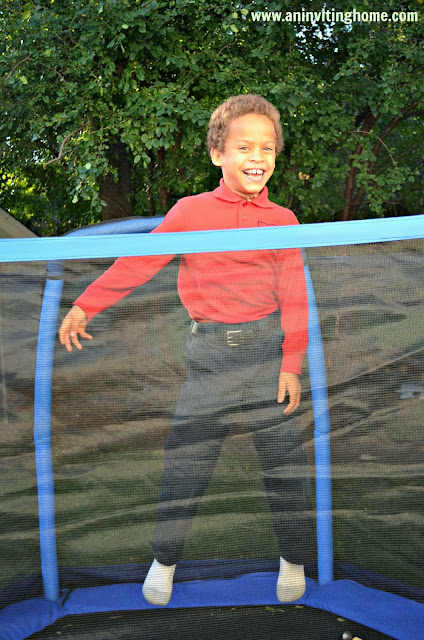 jumping high on the trampoline
