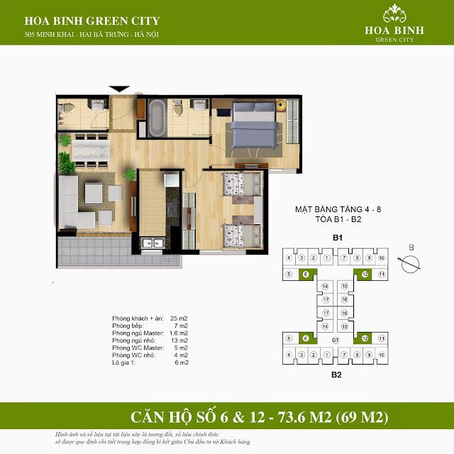 Mặt bằng căn 6 - 12 tầng thấp chung cư Hòa Bình Green City