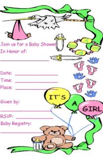 Bear Baby Girl Baby Shower Invitations