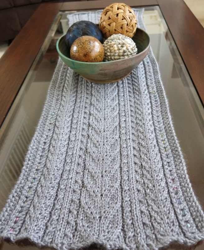 The Fuzzy Lounge New Knitting Pattern Lace Cables Table Runner
