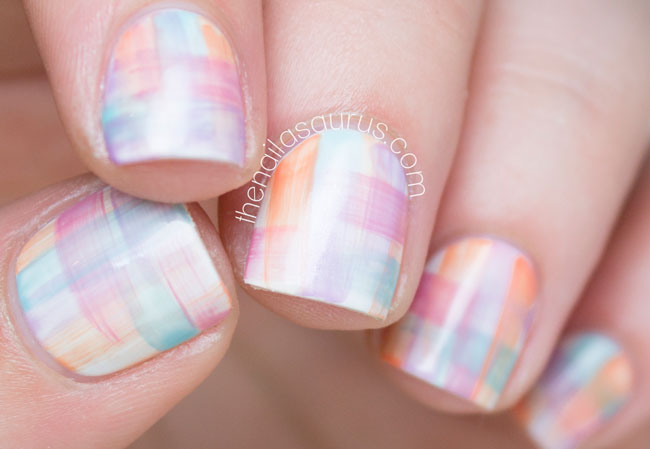 Streaky Watercolour Nail Art The Nailasaurus