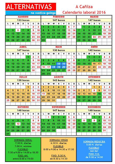 A Cañiza. Calendario laboral 2016