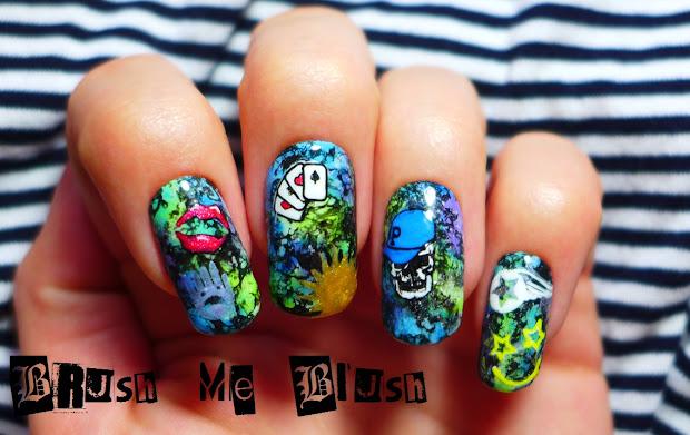 brush blush graffiti nail art