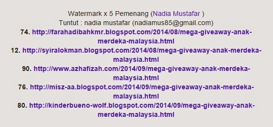 Watermark for the lucky contestant of Mega Giveaway Anak Merdeka Malaysia