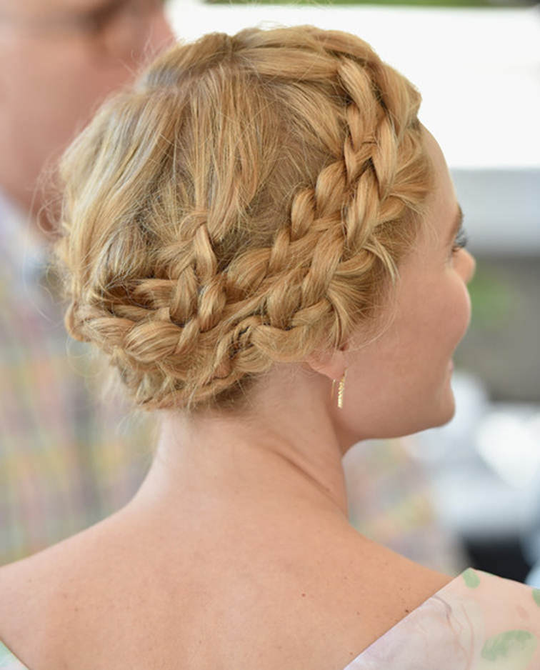 Kate Bosworth wraparound french braid, red carpet hair do