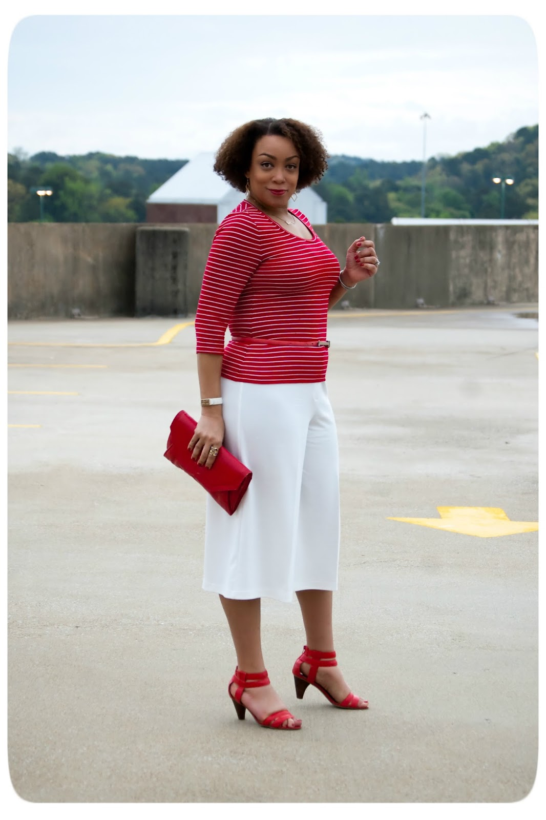 White Culottes & Red and White Nautical Striped Tee -- Erica B.'s - DIY Style!
