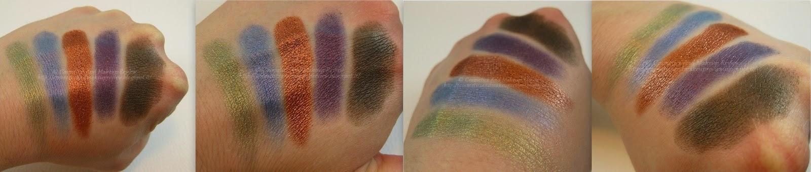 Neve Cosmetics - Palette Duochrome (2014) - swatches: prima fila di ombretti in alto, seconda fila di ombretti in basso