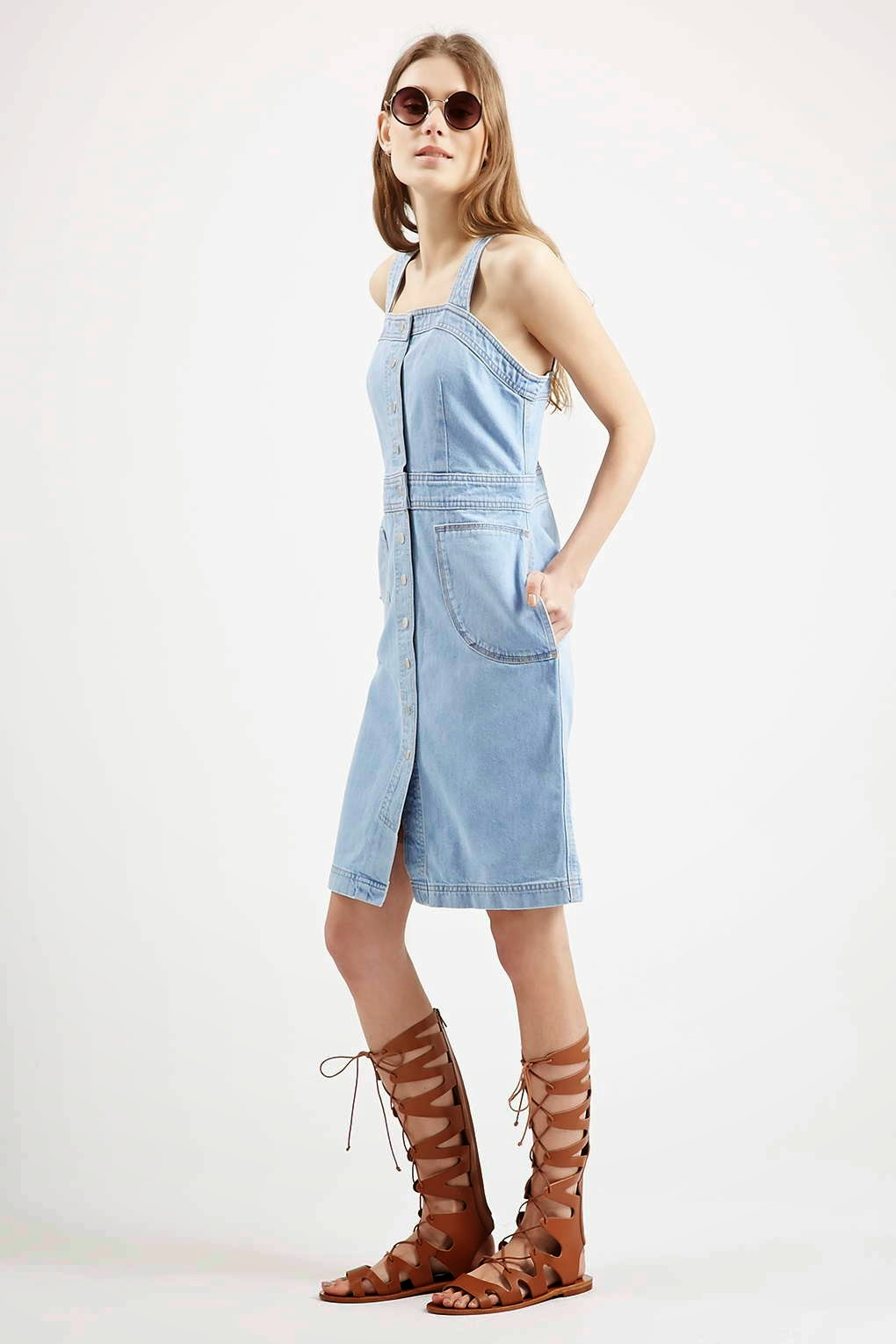 topshop denim dress, denim pinafore dress, denim button down dress,
