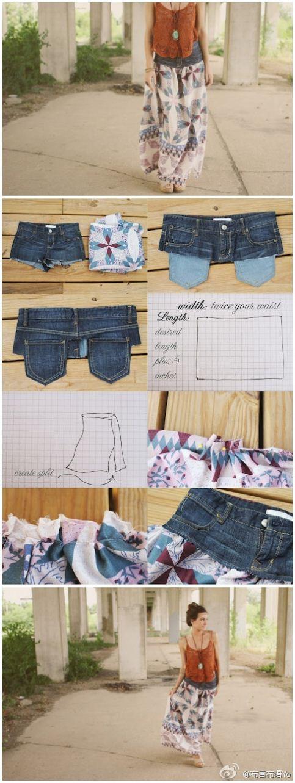 Reciclatex Cómo hacer una falda larga con unos jeans