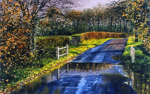 21-Wet-Road-Joe-Francis-Dowden-Photo-Realistic-Watercolour-Paintings-www-designstack-co