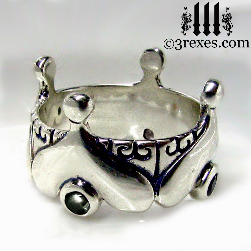 silver gothic heart crown ring with black onyx