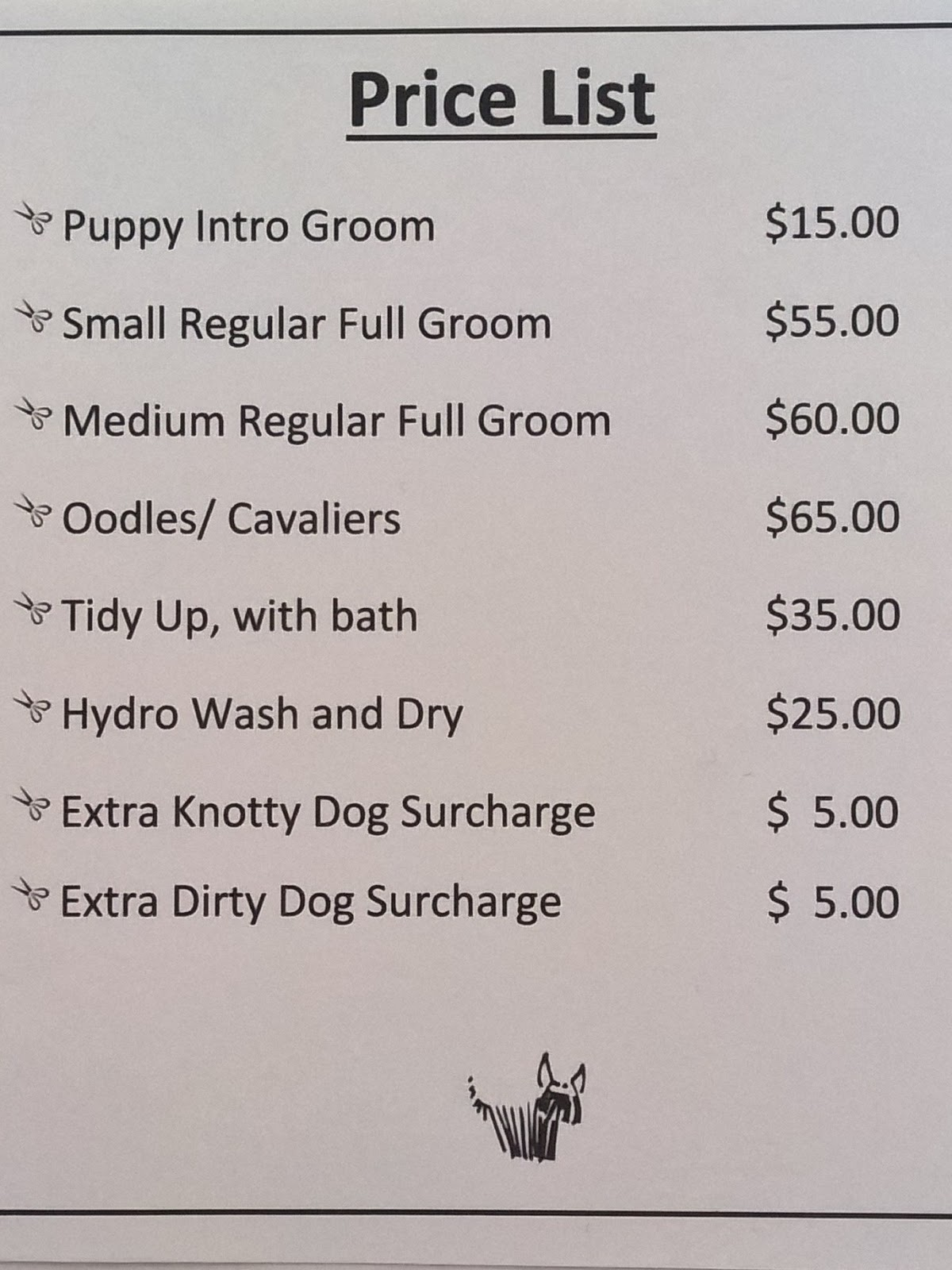 Smooth Dog Grooming Price List