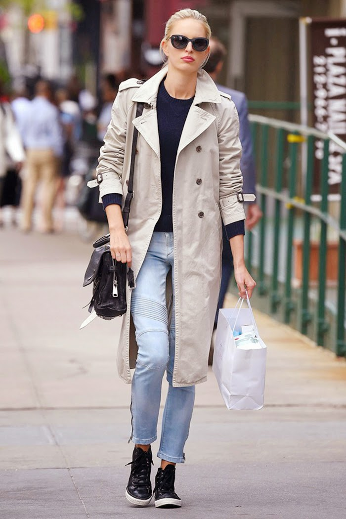 Karolina Kurkova Street Style - Gets Casual Chic With Classic Trench Coat
