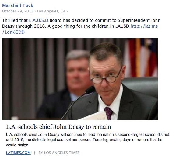 Marshall Tuck endorsed discredited and disgraced John Deasy