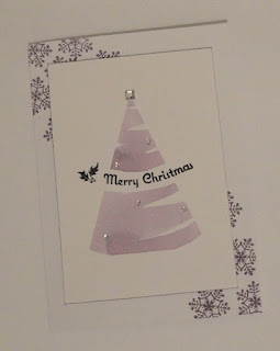 Purple Christmas card with watercolour tree shape