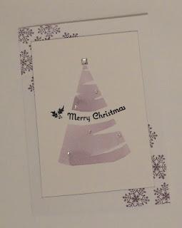 Purple Christmas card with watercolour tree shape
