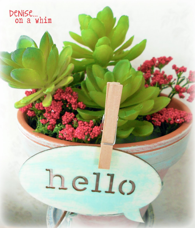 Spring Succulent Arrangement via http://deniseonawhim.blogspot.com