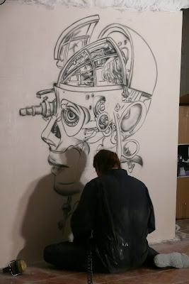 Aranżacja ściany w klubie Arctika, malowanie graffiti na ścianie w klubie tanecznym