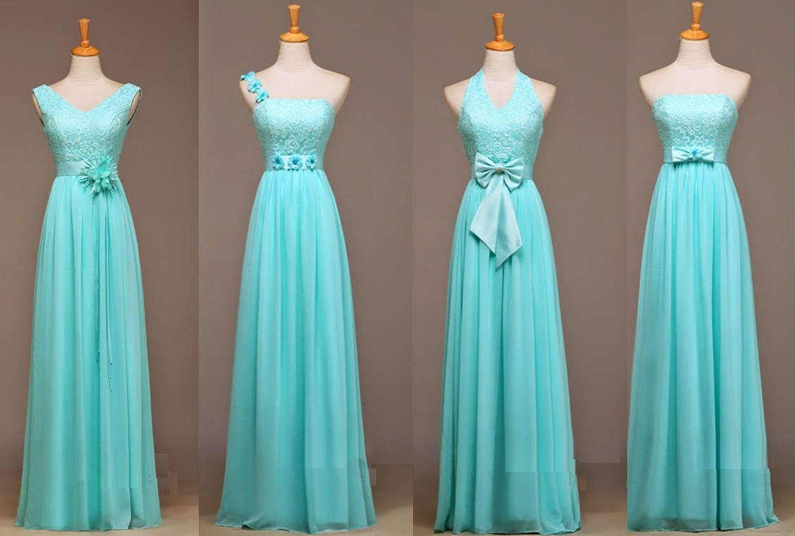Sophisticated Four-design Lace Top Blue-Green Maxi Bridesmaids Dress