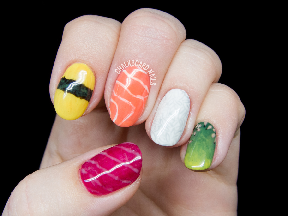 Sushi nail art by @chalkboardnails