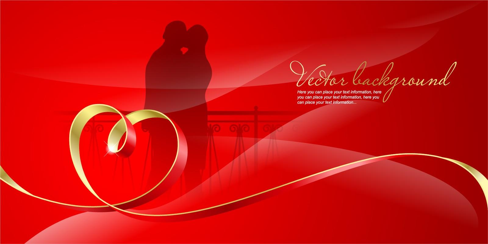 ロマンチックなハートリボンのバレンタインデー背景 romantic heartshaped ribbon background イラスト素材1