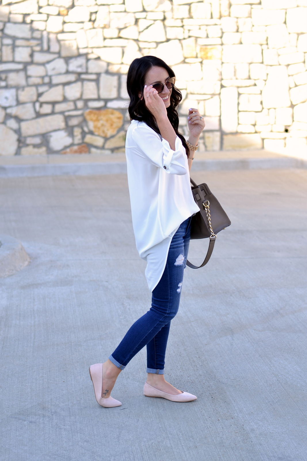 White Tunic, Distressed Denim and nude flats for a casual day look