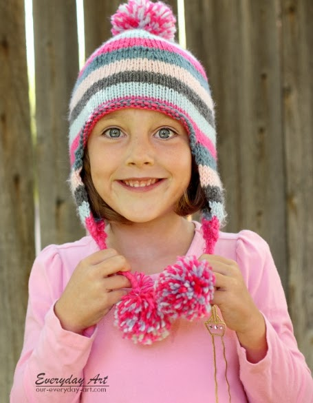 Knitting Patterns For Childrens Hats Free : Everyday Art: Childrens Knit Ear Flap Hat Pattern