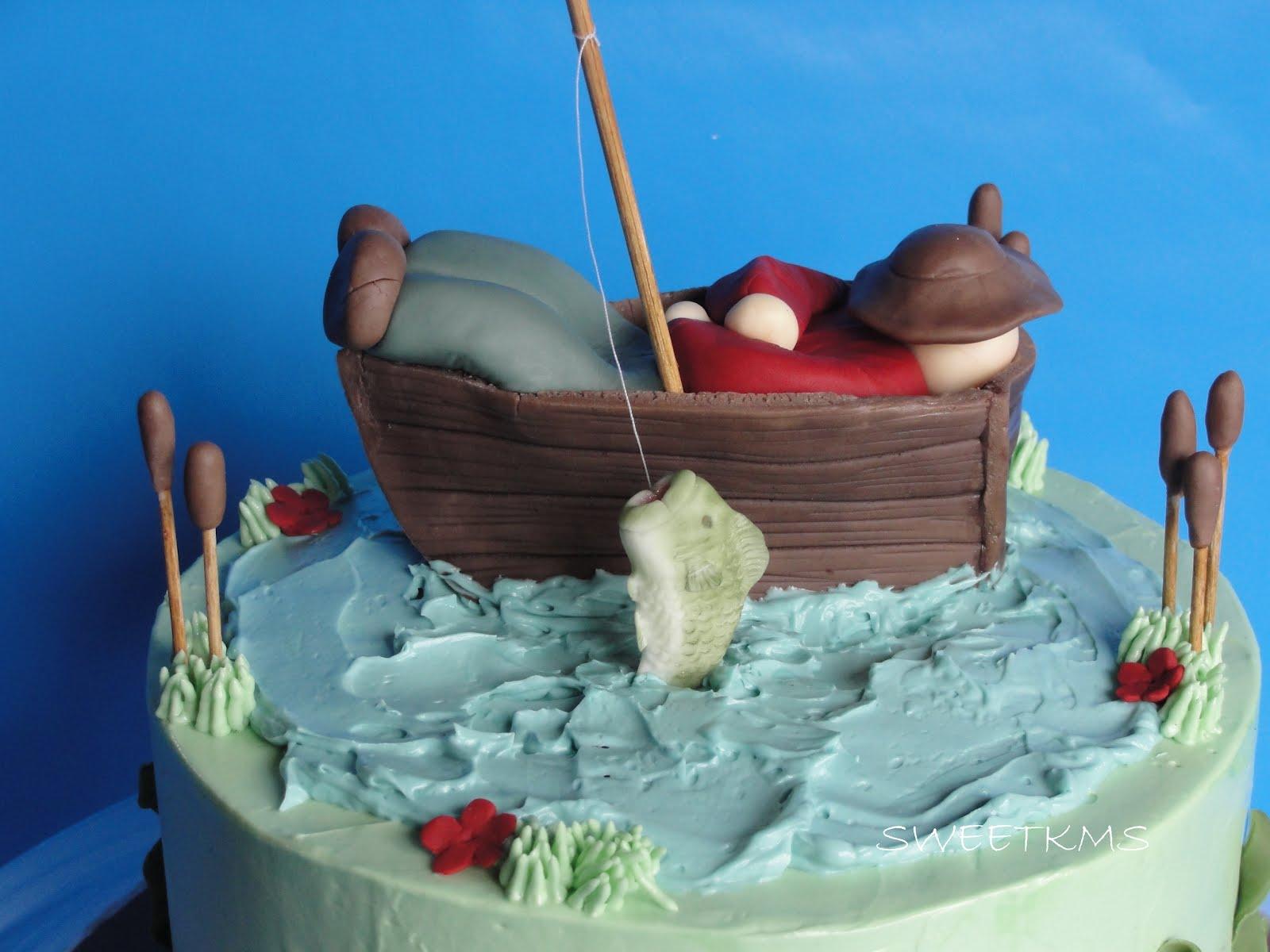 Sweet fishing cake for Fish cake design