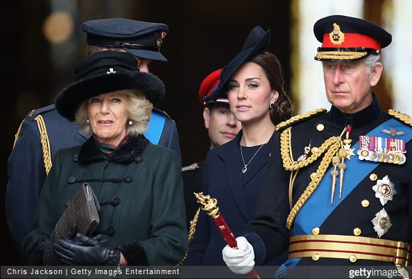 Camilla, Duchess of Cornwall, Catherine, Duchess of Cambridge and Prince Charles, Prince of Wales depart a Service of Commemoration for troops who were stationed in Afghanistan