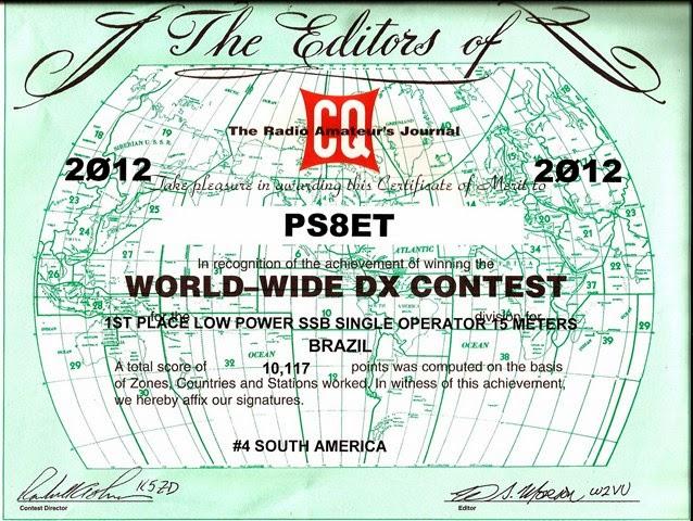 CQWW SSB 2012 - 1º Lugar 15m