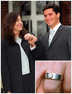 Alexias Ring Unlike The Sapphires Of Her Family Members Is A Simple And Starkly Modern Single Diamond On Wide Band Husband Carlos Morales Quintana