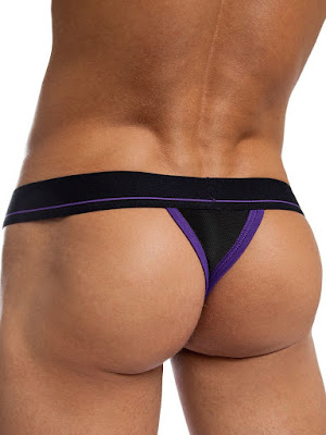 jackadams Bodyflex Mesh Thong Underwear Black-Purple Back Gayrado