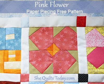 Pink flower free paper piecieng pattern