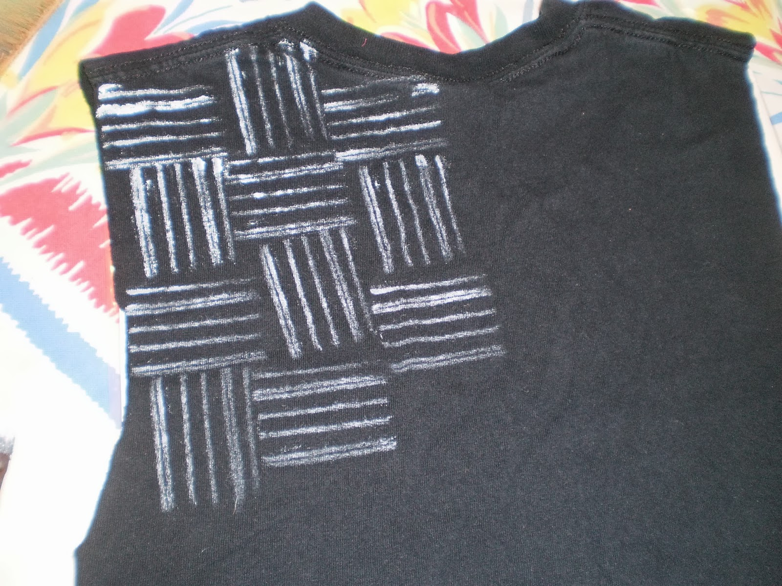 Shirt design with fabric paint - I Got The Idea To Make This Stamp On Pinterest I Just Wrapped Yarn Around A Wooden Block To Achieve My Desired Design Then I Used Fabric Paint To Make The