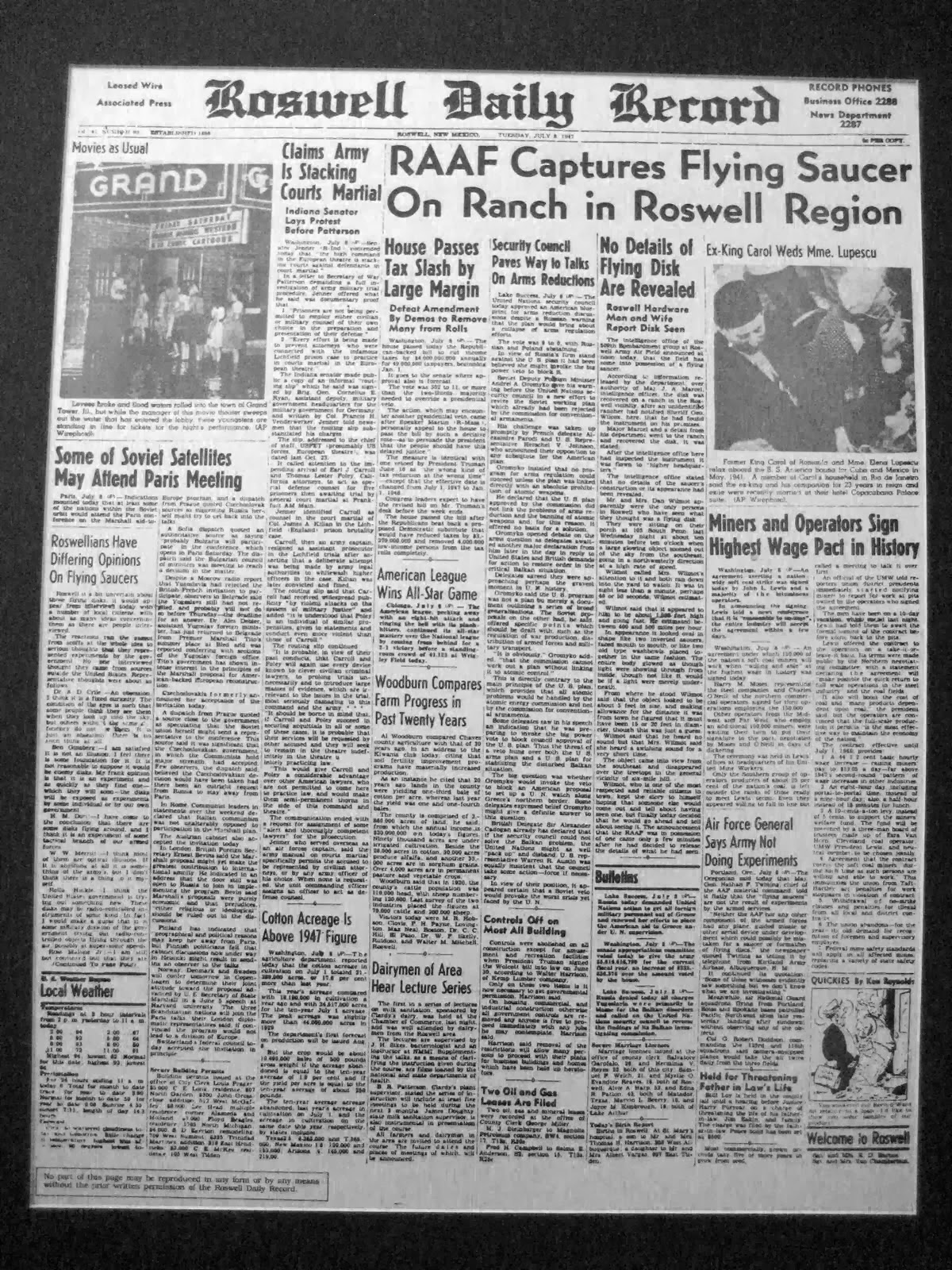 1947 roswell incident This incident gained widespread publicity, mainly owing to the media coverage and the involvement of government to deviate the attention of people away from the roswell incident on the evening of 3rd july, 1947, the first sighting happened.