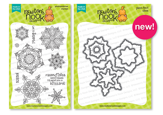 Beautiful Blizzard Stamp set and Die set by Newton's Nook Designs